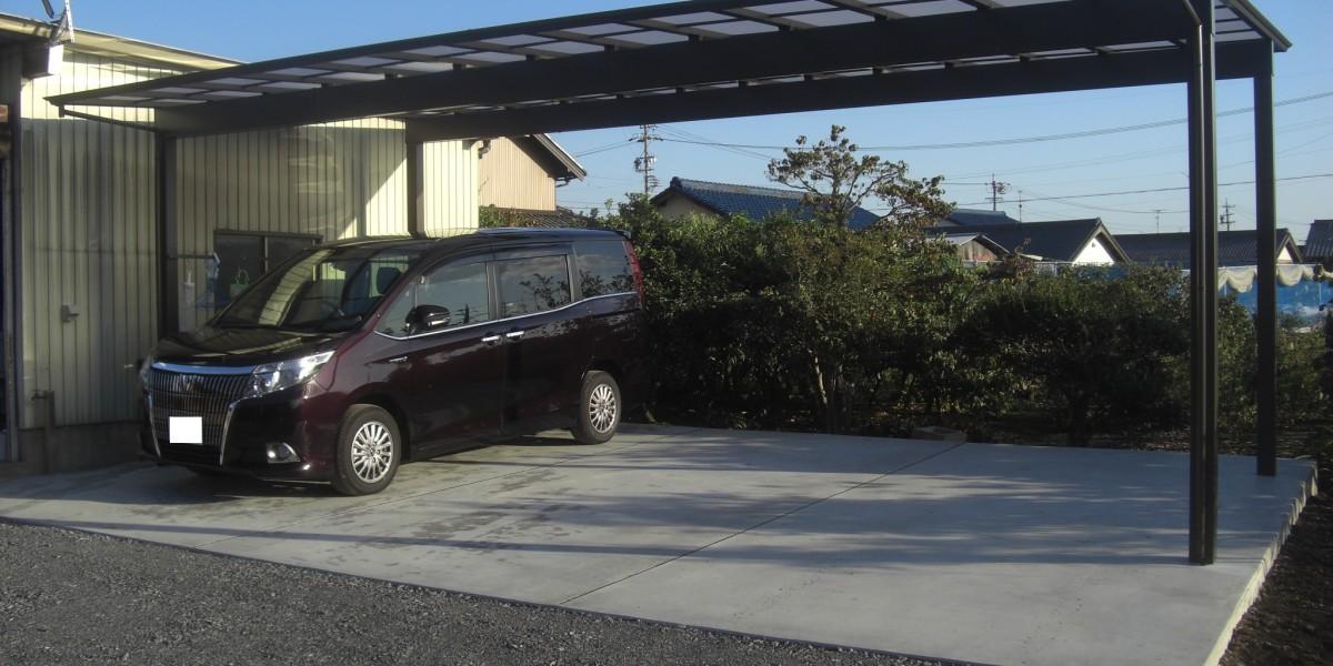 駐車場のコンクリート舗装とカーポート・ガレージの施工例 扶桑町N様邸