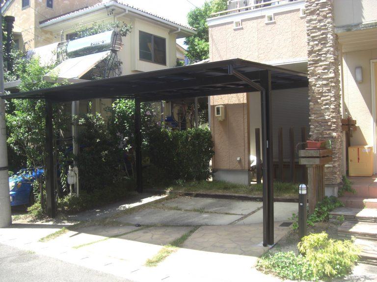駐車場の拡張とカーポート・カーゲートの設置工事 犬山市K様邸