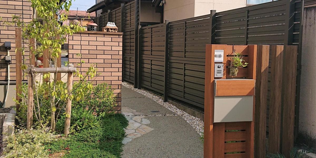 目隠しフェンスの取付とアプローチの舗装工事 岩倉市