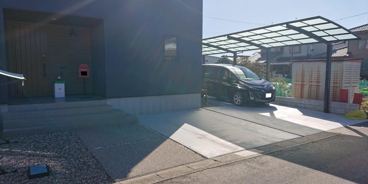 縦に2台停められる駐車スペースの新築外構工事|扶桑町