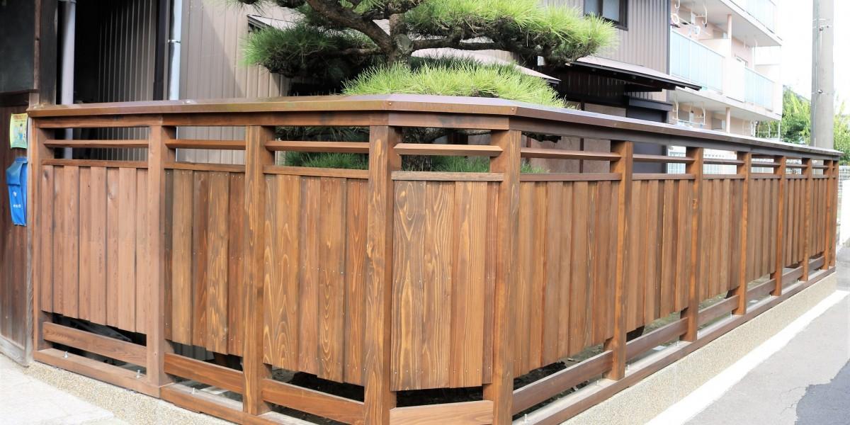 焼杉 板塀造作工事