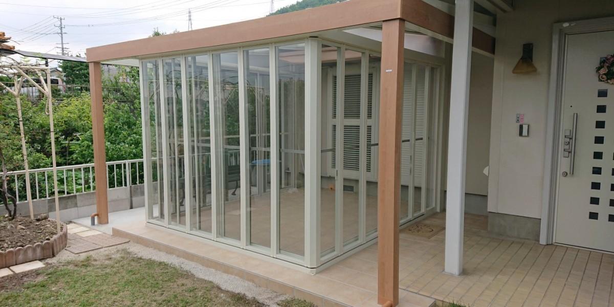 フルオープンにできるガーデンルームの取付工事|各務原市