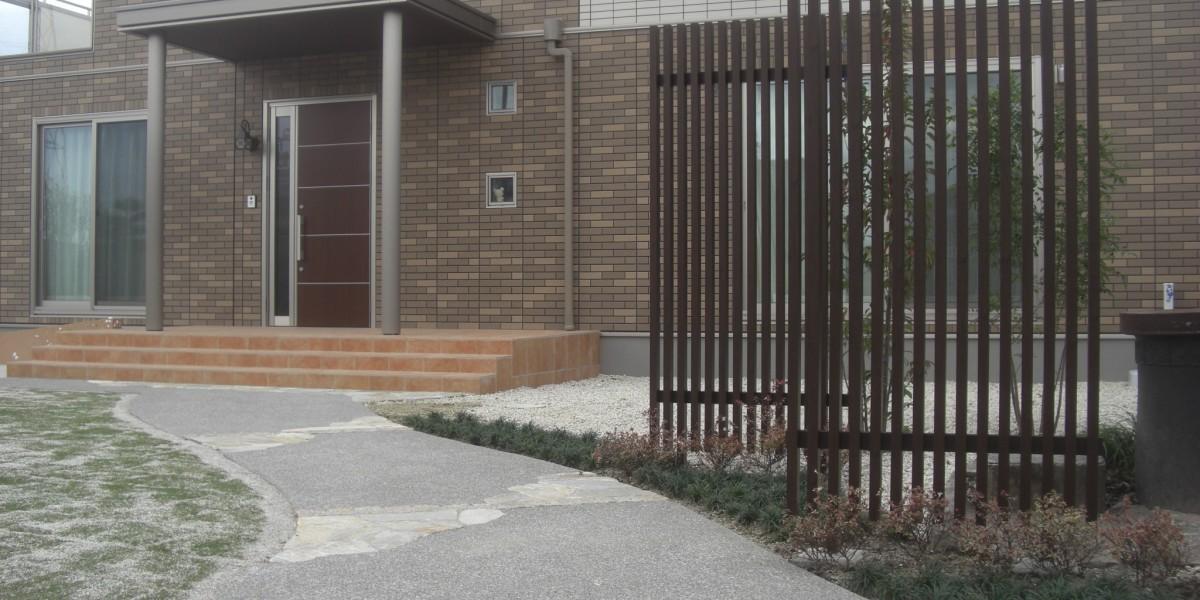 建て替え新築の外構工事 門廻り・アプローチの施工例|大口町O様邸