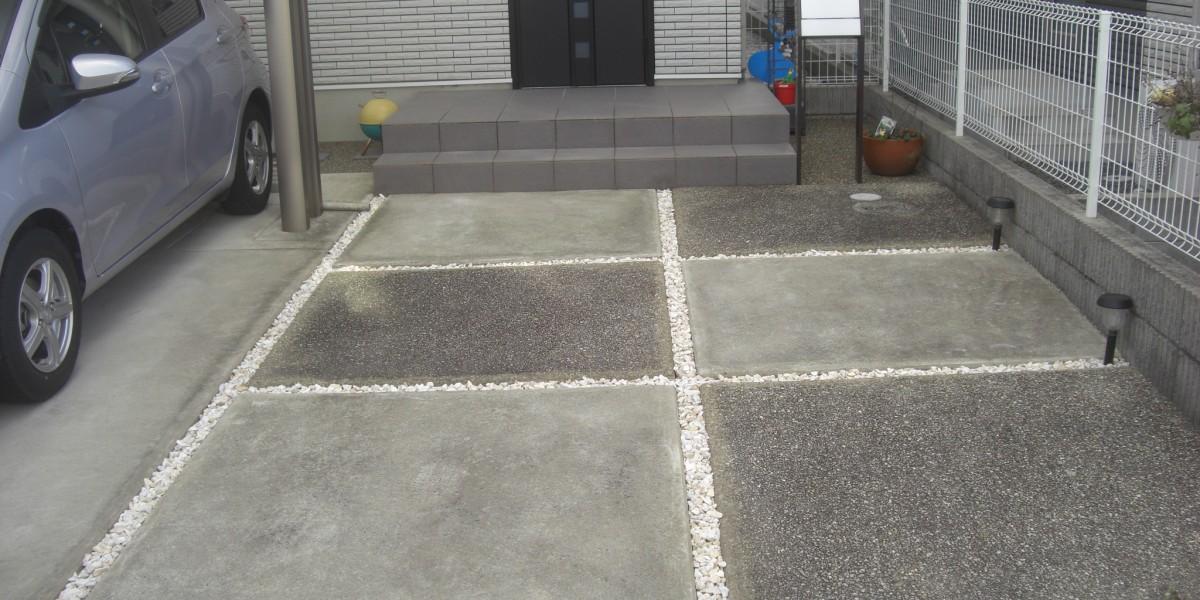 ポストの設置と土間スリットの玉竜を化粧砂利に変える施工事例|扶桑町