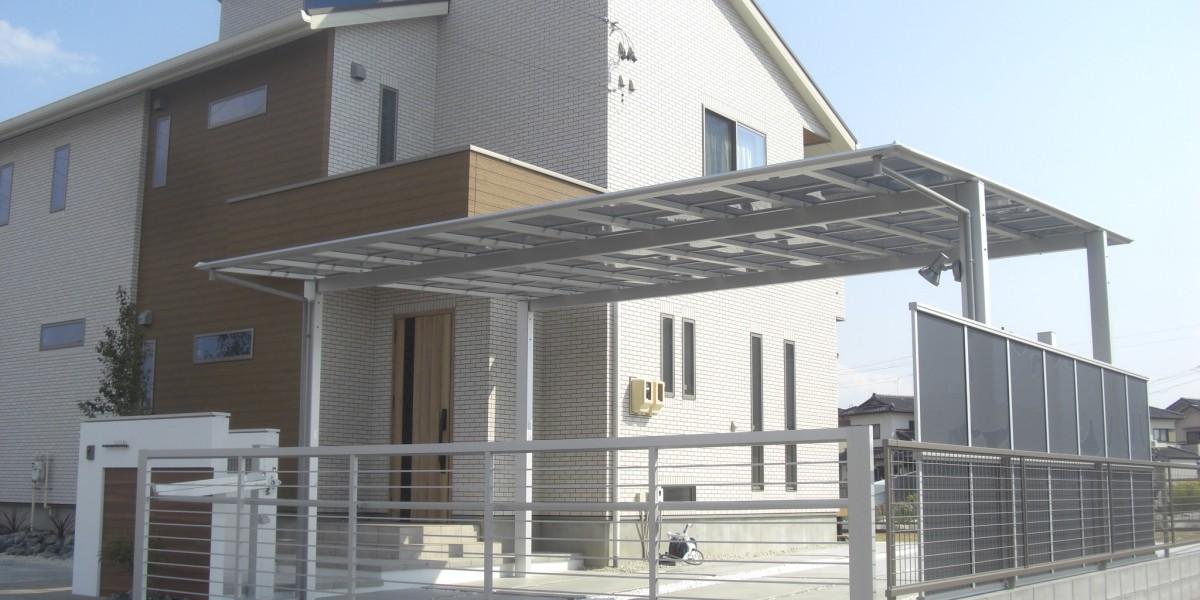 新築外構 駐車場 門廻り 庭 デッキ|江南市