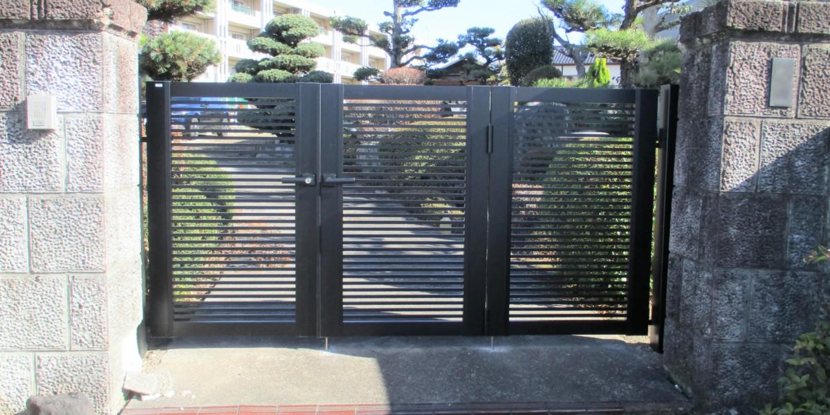 錠の壊れた門扉の交換工事|犬山市