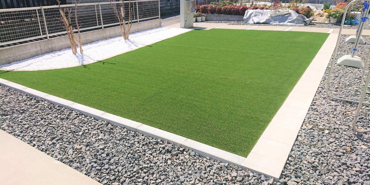 大型物置の設置と天然芝から人工芝への貼り替え工事|江南市