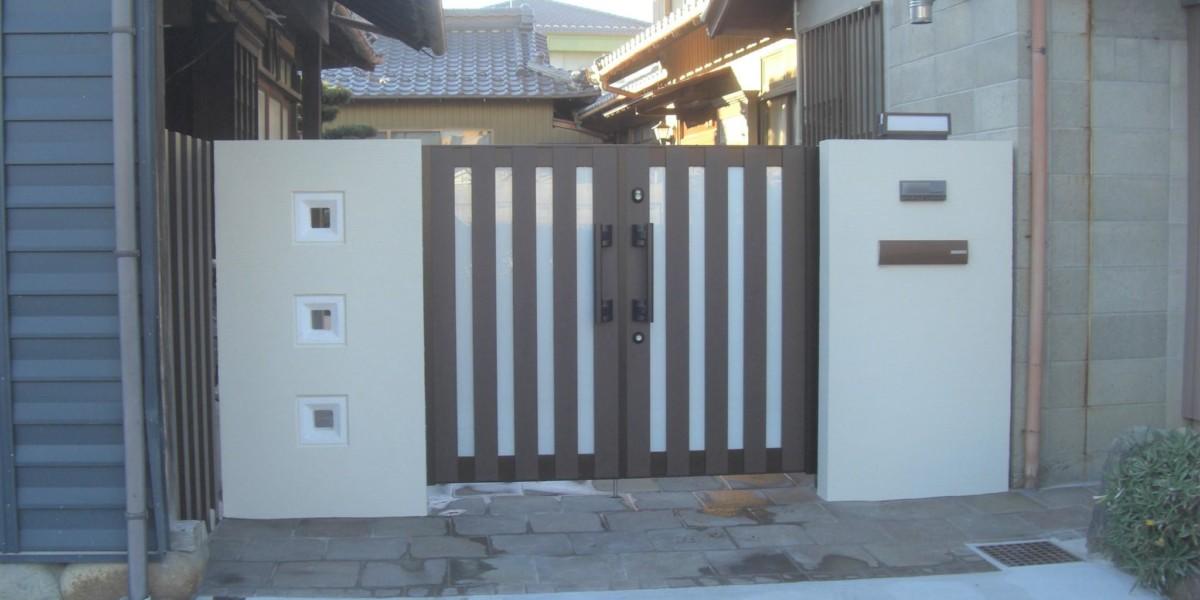 江南市のS様邸 施工事例|門廻り  門壁 ポスト 植栽