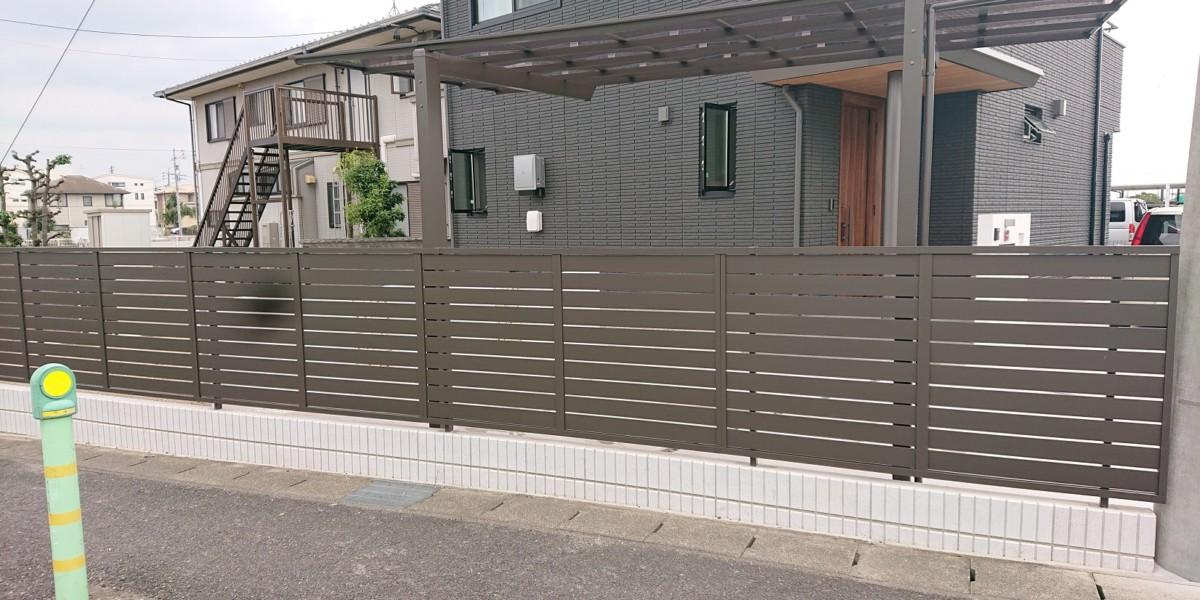 ブロック積みとフェンス
