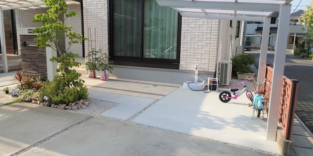 サイクルポートと土間コンクリート舗装➁